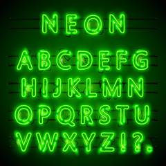 Neon font city. Neon green font eps. Lamp green font. Alphabet font. Vector illustration