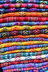 Traditional rugs at market on Cristobal de las casas, Mexico.
