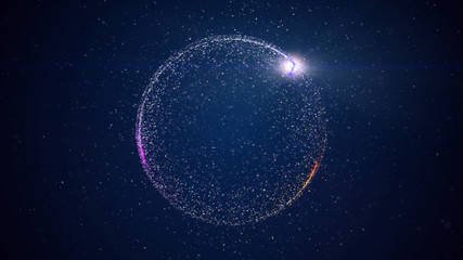 Abstract background with circular shape formed of small particles. Light ray effect.