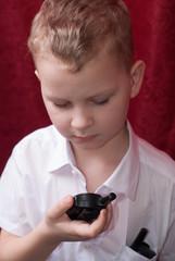 Boy with a walkie-talkie,