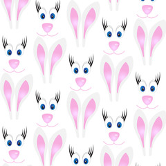 pattern with rabbits on a white background