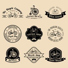 Vector set of vintage hipster bicycle logo. Modern bike badges or emblems collection.