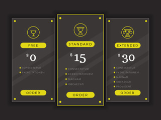 Pricing table, comparison chart vector template