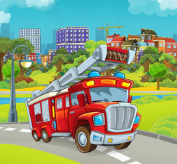 cartoon stage with vehicle for firefighting truck