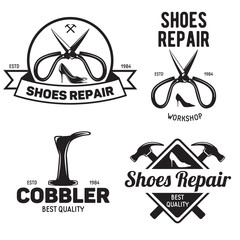 Set of vintage logo badge emblem or logotype elements for shoemaker shoes shop and shoes repair.