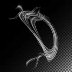 Realistic Cigarette Smoke Waves Vector. Abstract Transparent Smoke Hot White Steam. Smoke Rings.