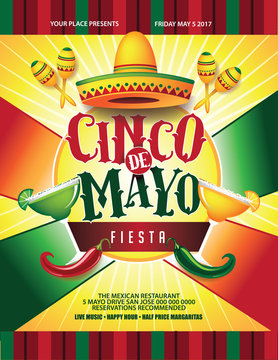 Cinco de Mayo sombrero, maracas and chili pepper poster, marketing or advertising template. Flat design. For celebration of the May 5 Mexican holiday. EPS 10 vector.