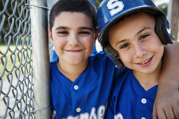 Portrait of smiling baseball players