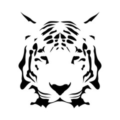 Tiger face, abstract vector icon
