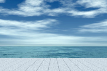White wooden floor with sea and sky background, calm atmosphere. Digital generating image.