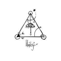 All seeing eye pyramid symbol. The triangle with eye. Nice doodle illustration. It can be used for printing, tattoo and so on. Magic symbol.