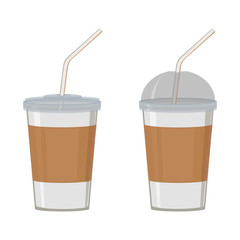 Set of white plastic cups with lid and straw. For coffee, tea, juice, cocktails. Abstract concept. Vector illustration.