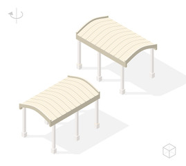 Isometric High Quality City Element with 45 Degrees Shadows on White Background . Pergola