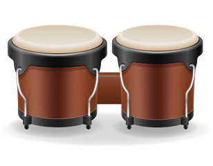 bongo drums musical instruments stock vector illustration