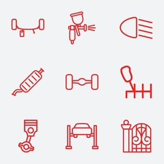 Set of 9 car outline icons