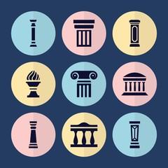 Set of 9 greek filled icons