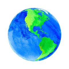 Vector illustration of Earth with watercolor texture