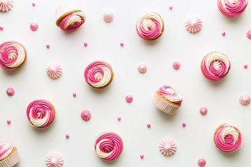 Wall Mural - Cupcake background on white