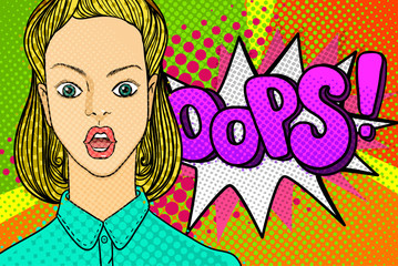 Woman face in pop art style.