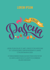 Happy Easter Spanish Calligraphy Greeting Card. Modern Brush Lettering. Joyful Wishes, Holiday Greetings. Pastel Background.