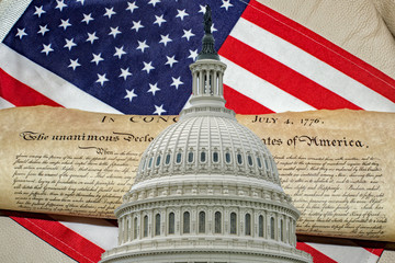 Wall Mural - Declaration of independence 4th july 1776 on Washington DC capitol