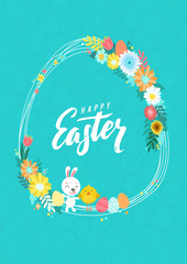 Happy Easter Calligraphy Greeting Card. Modern Brush Lettering and Floral Wreaths. Joyful wishes, holiday greetings. Pastel background