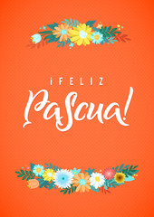 Happy Easter Spanish Calligraphy Greeting Card. Modern Brush Lettering and Floral Wreaths. Joyful wishes, holiday greetings
