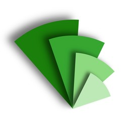 Three Dimensional Green Triangles Logo Vector