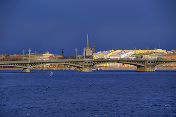 Landscape of St. Petersburg. View of the Neva and Admiralty