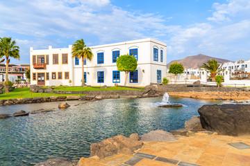 Typical Canarian buildings in Rubicon port, Playa Blanca, Lanzarote, Canary Islands, Spain