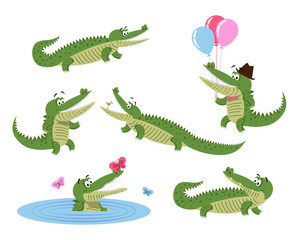 Cute Cartoon Crocodiles Isolated Illustrations Set