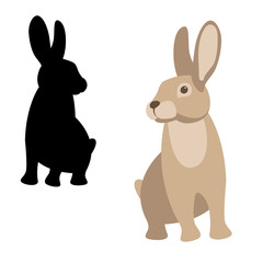rabbit vector illustration style Flat set silhouette