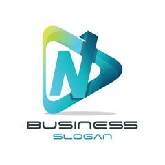 3d Modern Letter 'N' Media Logo