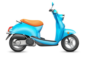Blue Italian scooter. Orthographic side view.