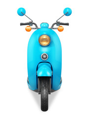 Blue retro scooter. Front view.