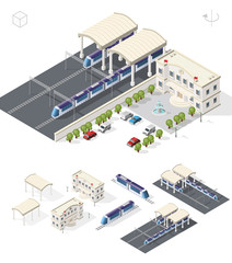 Isometric High Quality City Element with 45 Degrees Shadows on White Background . Railway Station