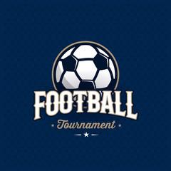 Football soccer emblem blue