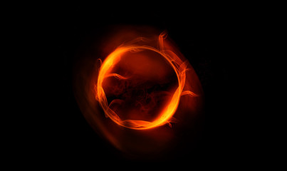 abstract gold ring of fire smoke. abstract image for background