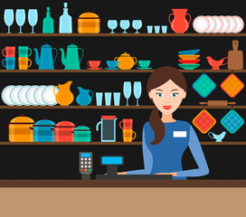 the girl-seller in the shop with the dishes. vector.
