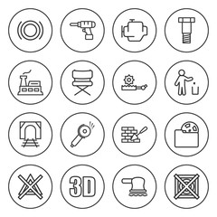Set of 16 industry outline icons