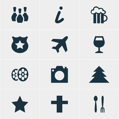 Vector Illustration Of 12 Map Icons. Editable Pack Of Cop, Wineglass, Jungle And Other Elements.
