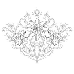 A sketch of beautiful lotuses in a graceful ornament on a white background.
