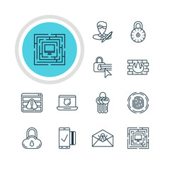 Vector Illustration Of 12 Protection Icons. Editable Pack Of Easy Payment, Data Security, Copyright And Other Elements.