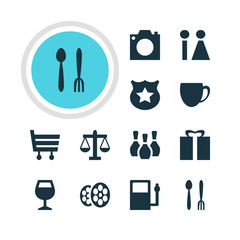 Vector Illustration Of 12 Check-In Icons. Editable Pack Of Toilet, Cafe, Refueling And Other Elements.