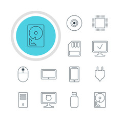 Vector Illustration Of 12 Computer Icons. Editable Pack Of Hard Drive Disk, Online Computer, Tablet And Other Elements.
