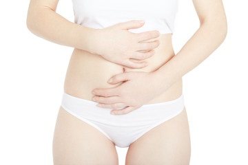 Woman with menstrual cramps, stomachache isolated on white, clipping path