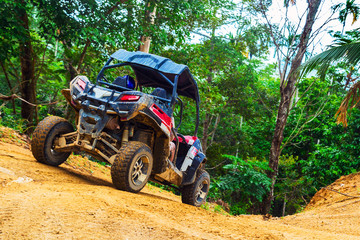 Extreme ride on ATV, buggies, jeeps. Journey through the jungle. Extreme quad biking, dune buggy, Jeep in the jungle, forest / ATV, UTV . in motion.  toned image