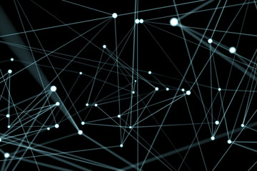Floating white and blue glowing dot network 3D rendering