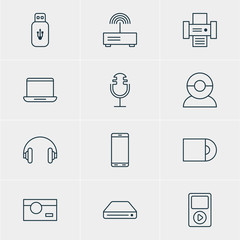 Vector Illustration Of 12 Accessory Icons. Editable Pack Of Smartphone, Memory Storage, Media Controller And Other Elements.