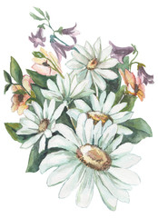 Super watercolor bouquets  pattern in vintage style For invitations and greeting cards